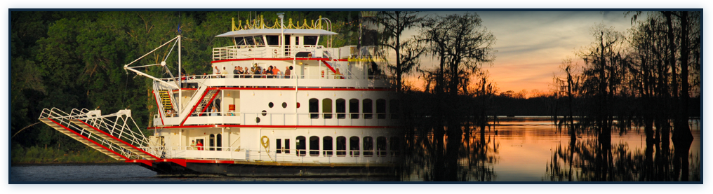 Image of a collage of a river boat and a beautiful swamp in the evening. Serving Louisiana Since 1937 overlay the image.